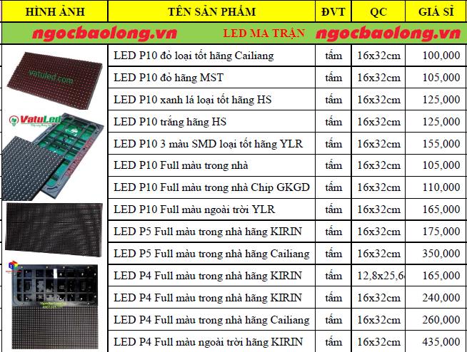 bảng giá led ma trận p10 3 màu